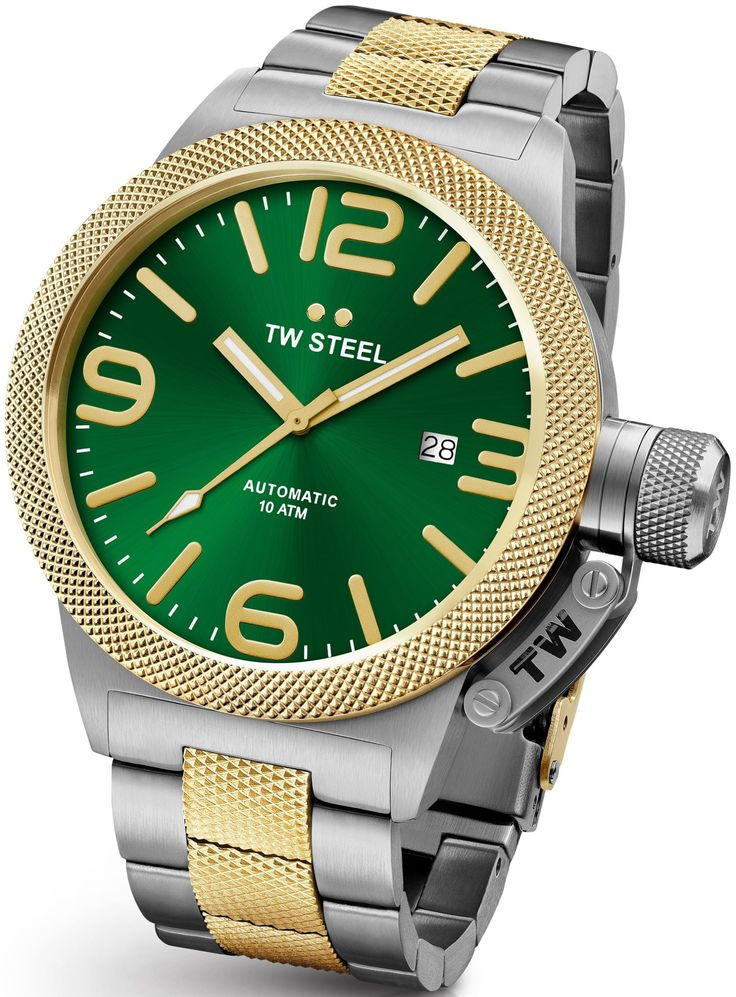 TW Steel Canteen Silver & Gold 50mm Automatic Watch Green Dial CB66