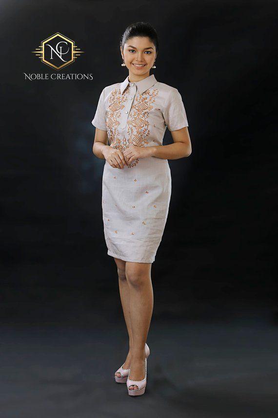 8a5213b4e4e Modern FILIPINIANA Dress Linen BARONG TAGALOG Philippine National Costume -  Mocha in 2019
