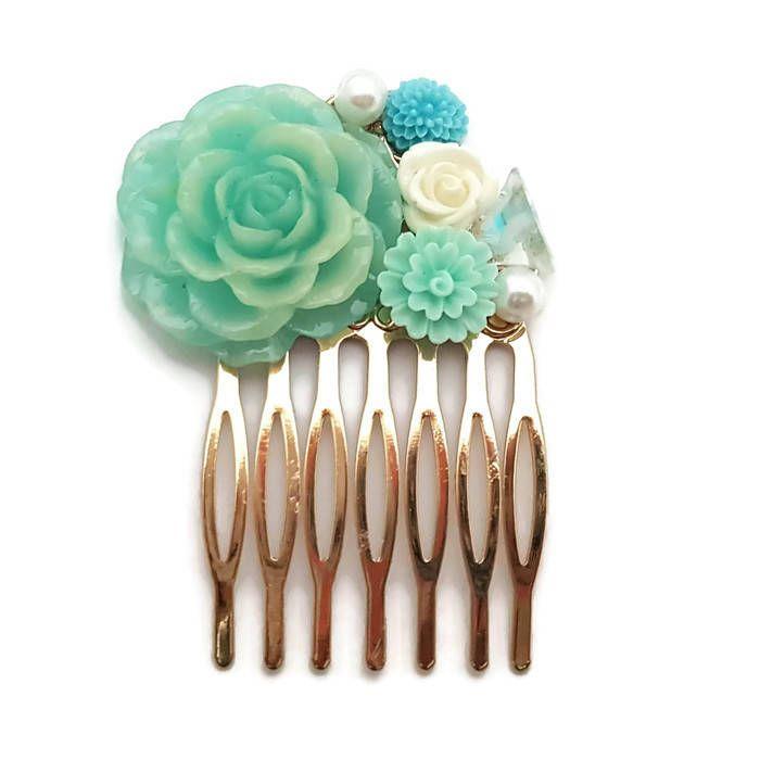 Blue Floral Hair Comb-Antique Hair Comb-Wedding Hair Clips-Bridal Bobby Pins-Bridesmaid Gift-Hair Accessory-Pearl Hair Clip-Golden Comb