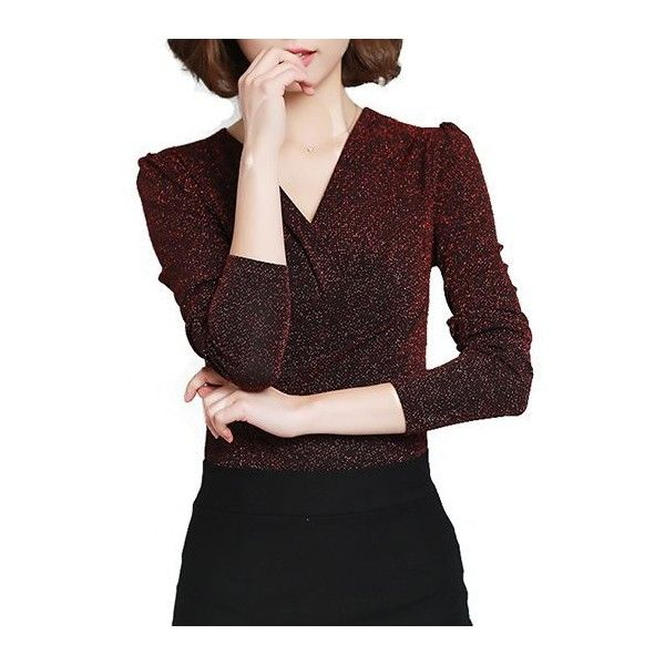 Rotita V Neck Wine Red Long Sleeve Sequin Blouse ($27) ❤ liked on Polyvore featuring tops, blouses, wine red, red long sleeve top, pattern blouses, v-neck tops, long sleeve v neck blouse and sequin top