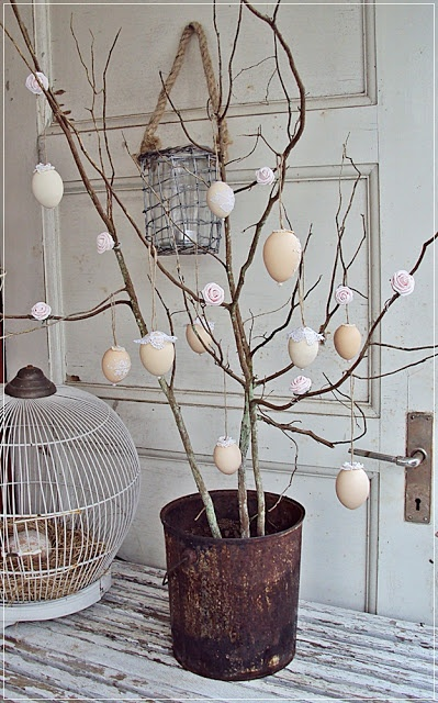 Use the branches from winter for easter egg tree ornaments, or eggs