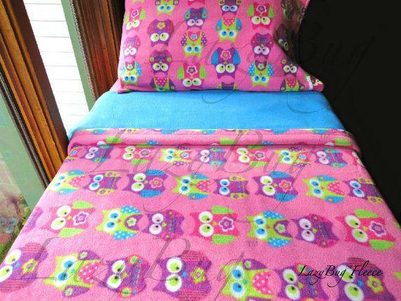 Childrens Bedding Set  'Pink Owls' for Girls Handmade Fleece Sheets Fits Crib and Toddler Beds