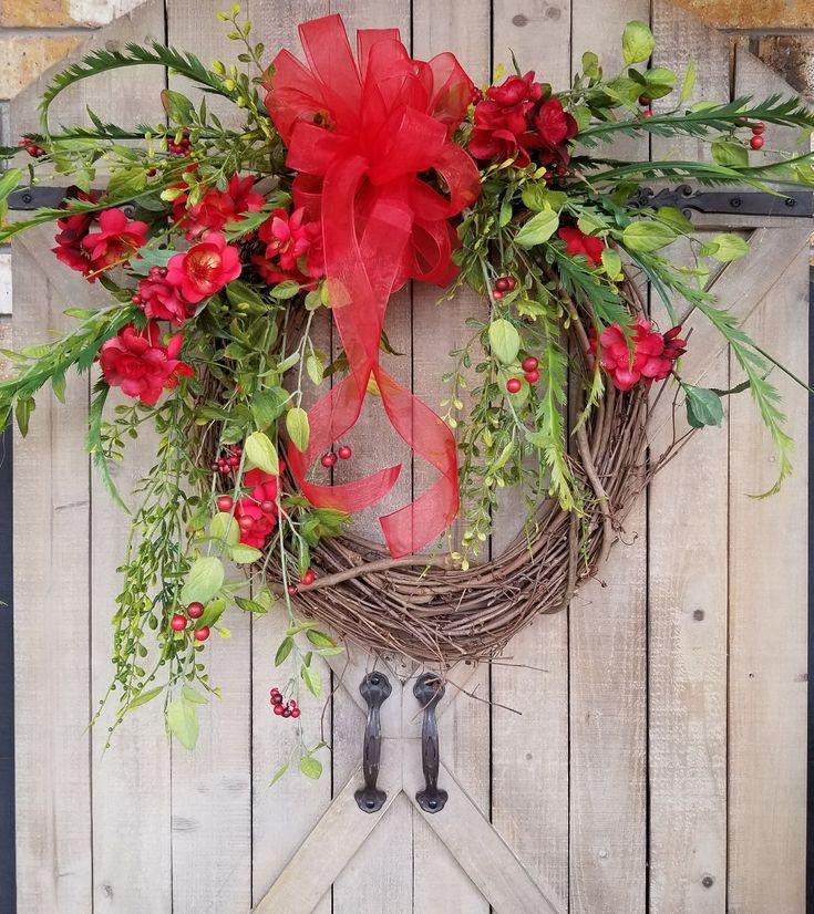 Red Apple Blossom Wreath Door Wreath, Valentines Day,  spring wreath, Outdoor wreath,  wedding wreath, Grapevine wreath, summer wreath by FarmHouseFloraLs on Etsy