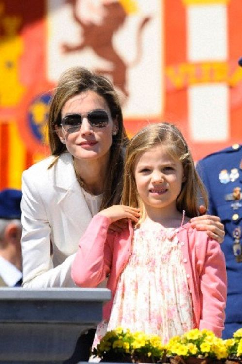 Spanish Crown Princess Letizia with her daughter Infanta Sofia, attends a 2014 commemorative act of air academy in 2nd of May