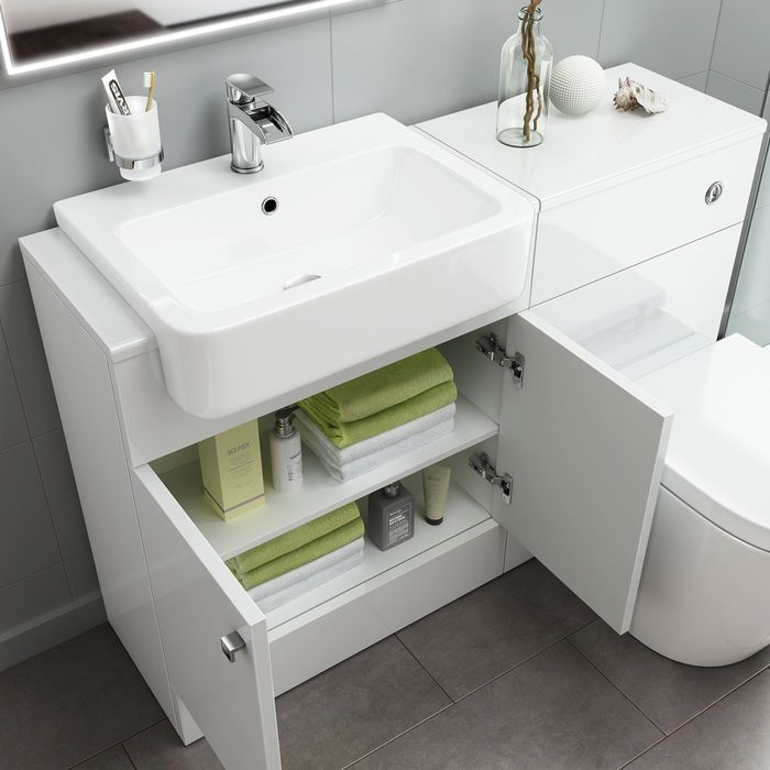 1500mm Harper Gloss White Combined Vanity Unit Lyon Pan Toilet