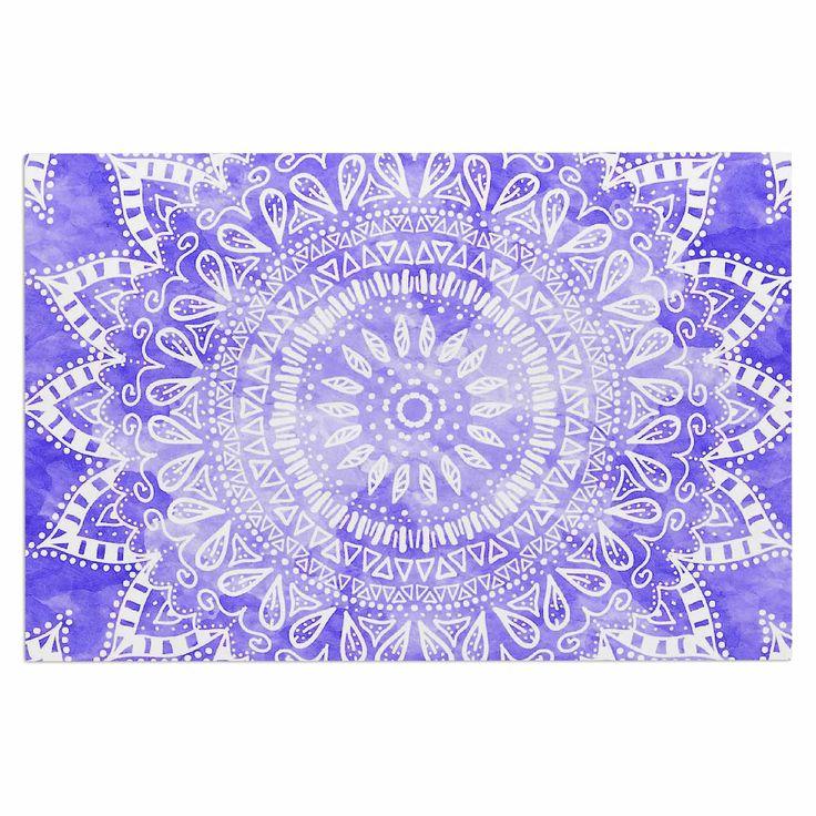"Nika Martinez ""Boho Flower Mandala in Purple"" Lavender Decorative Door Mat"