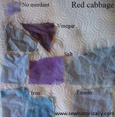 Red cabbage – dye samples   Sew historically