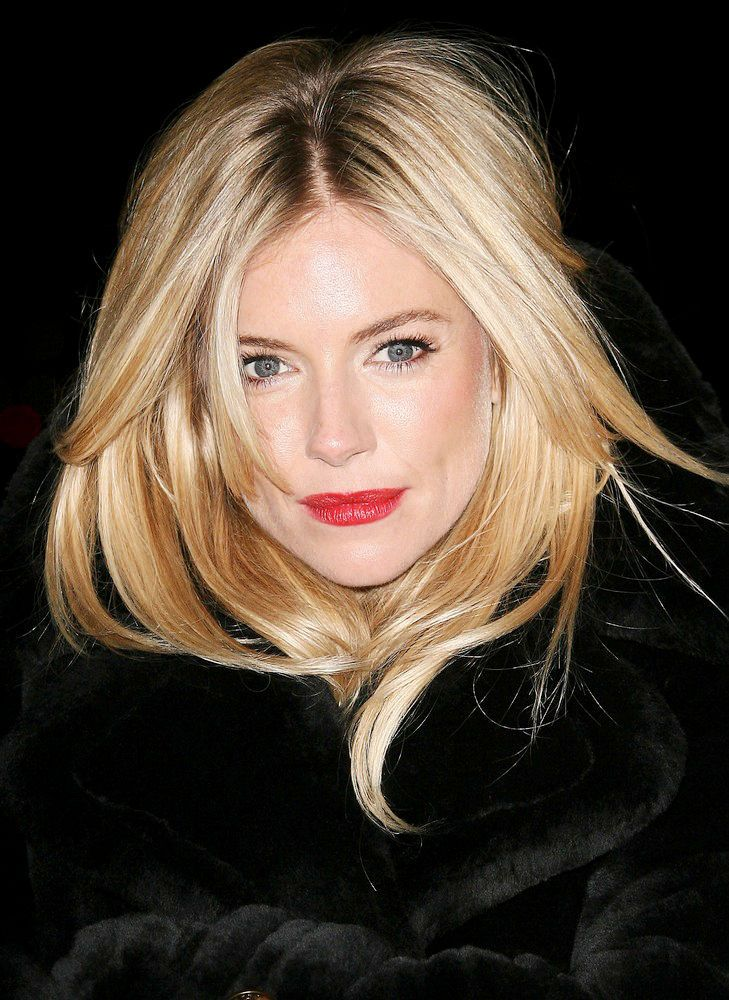 Sienna Miller. Gorgeous Hair, Bold Red Retro Lip!