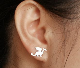dragon earring studs in sterling silver, handmade in the UK - by HuiyiTan