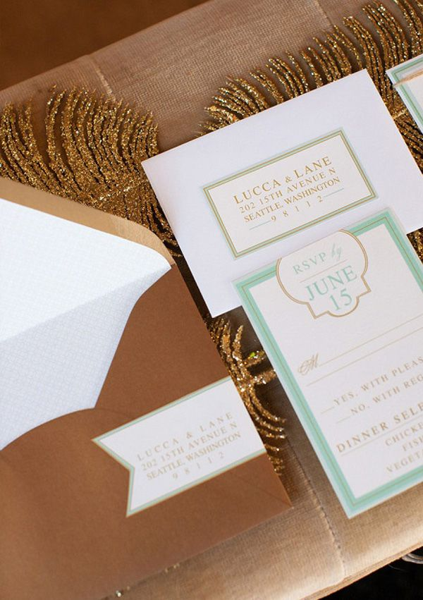 wedding invitations for less than dollar%0A Mint and Gold Wedding Inspiration from Simply by Tamara Nicole