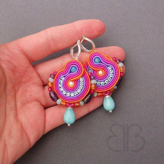 Multicolour optimistic earrings soutache by BlueButterflybizu