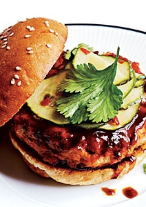 Hoisin-Glazed Salmon Burgers with a Pickled Cucumber Recipe! Great ...