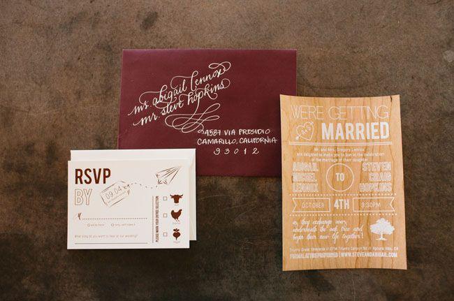 maroon + wooden invitation