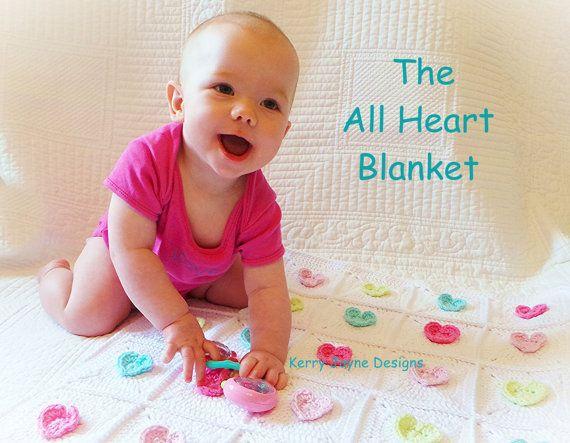 CROCHET BABY Pattern The All Heart blanket by KerryJayneDesigns