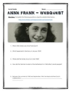 Anne Frank - Webquest with Key (Holocaust) - This 6 page document contains a…