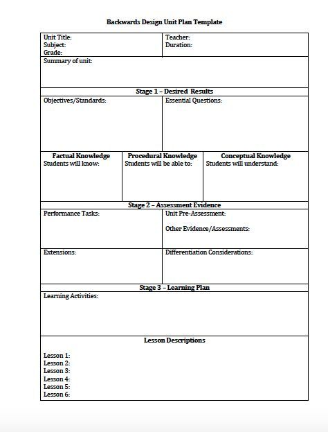 Unit Plan and Lesson Plan Templates for Backwards Planning (Understanding by Design) - Freebies