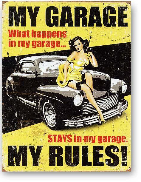 【楽天市場】ガレージの中では俺が法律!★MY GARAGE MY RULES★レトロ調★アメリカンブリキ看板★アメリカ…
