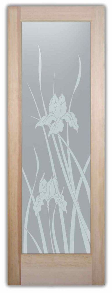 Iris Glass Door - privacy glass doors frosted glass by Sans Soucie Art Glass.