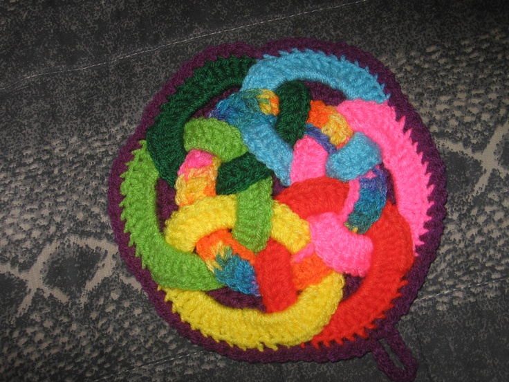 A multicolored hot pad made for the same swap partner.