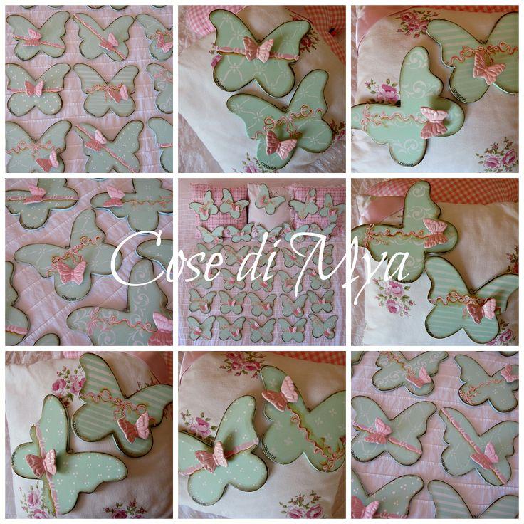Farfalle dipinte con applicazione farfalla in ceramica