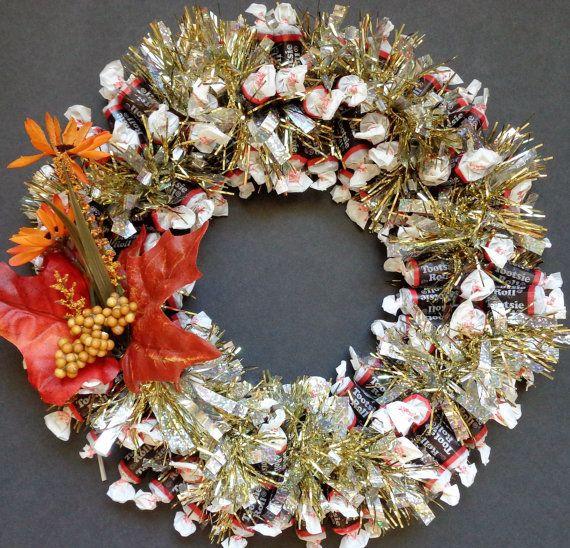 Candy Wreath Edible Chocolate Tootsie Roll by CandyWreathsbyCarla