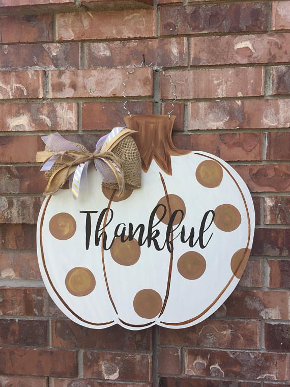 Fall door hanger pumpkin door hanger fall wreath thankful