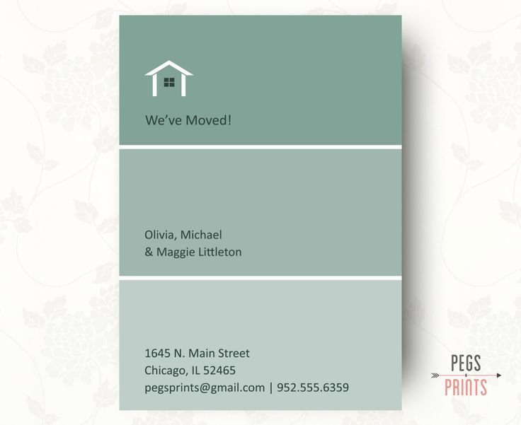 Printable Moving Announcement, Paint Swatch Moving Announcements, New Home Announcement by PegsPrints on Etsy