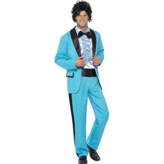 Jaren 80 kostuum voor heren in de kleur blauw. Het jaren 80 kostuum in de kleur blauw bestaat uit de broek, het colbert en het overhemd.