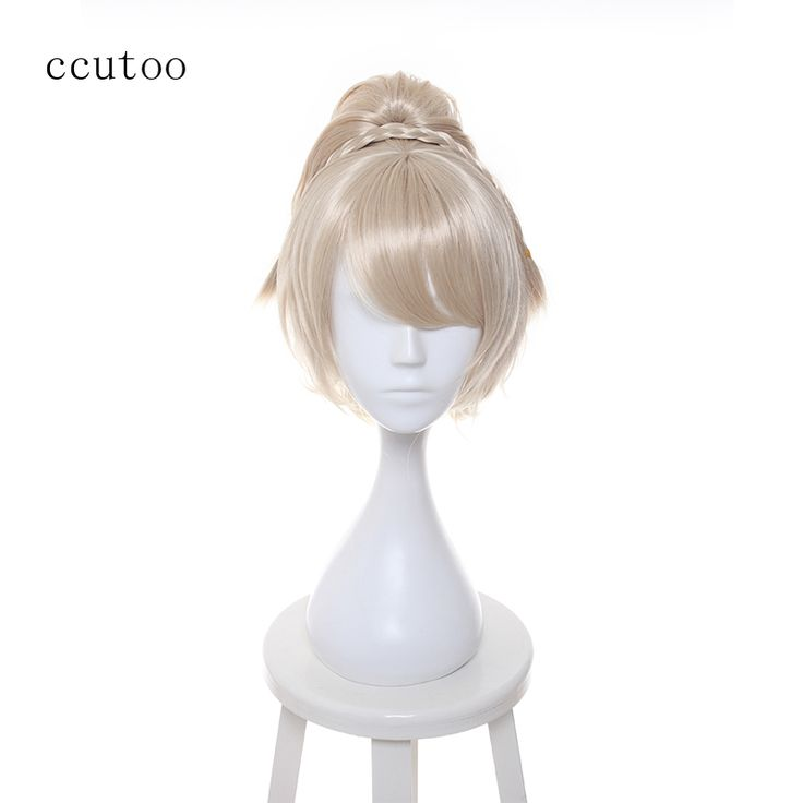 ccutoo Female's Blonde Short Base Wig Oblique Fringe Curly Chip Ponytail Synthetic Hair Cosplay Costume Wigs Peluca
