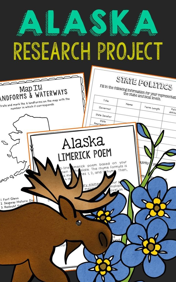 Alaska State History Research Project. This complete notebook unit is the perfect companion to your annual state studies. Your students will use the internet to research a variety of topics to include: economics, government, geography, politics, current events, higher education, weather, historical figures, Native Americans, state symbols and icons, historic timeline, state flag, folk songs, Westward Expansion, the Civil War, and the Industrial Revolution.