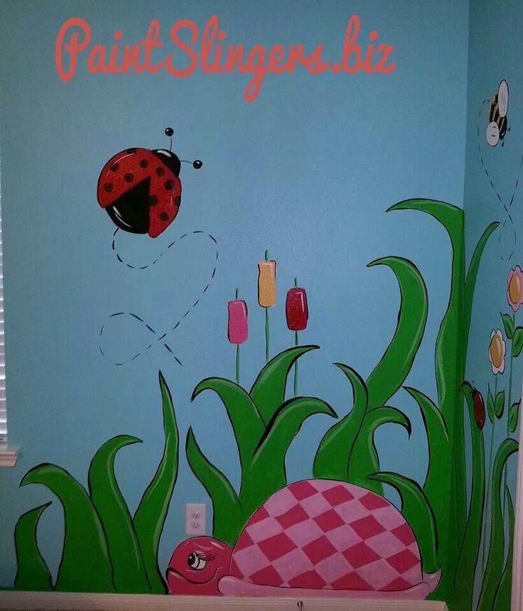 Kids room mural bugs butterflies turtles flowers for Bug themed bedroom ideas