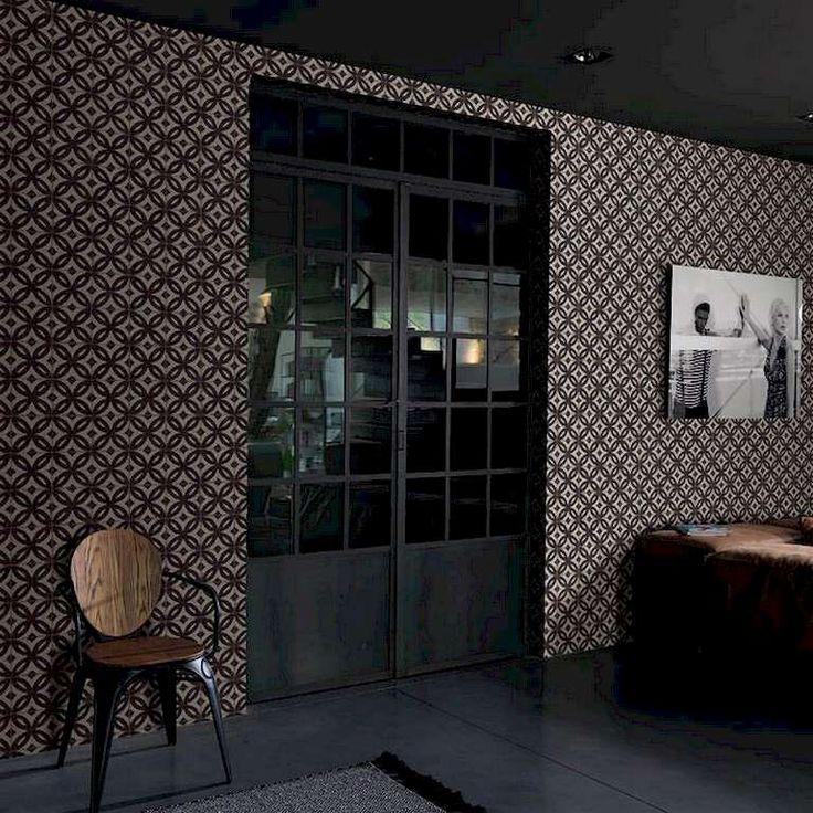 Colección: New Concept 2018. Fabricante: Decoas. Producto: Papel vinílico. Papel pintado azulejo vintage marrón. Soporte: Tejido no-tejido.