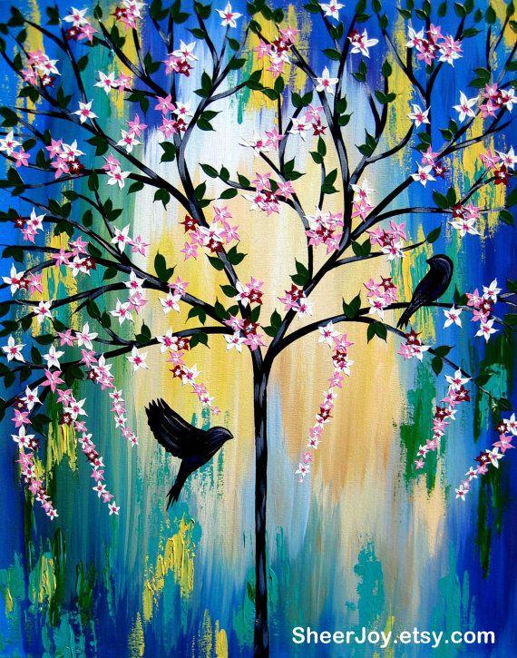 schilderij boom, boom kunst, kunst aan de muur, levensboom kunst, cadeau van de boom des levens, boom cadeau, boom geschenken, blauwe en groene kunst, blauw en groen schilderen
