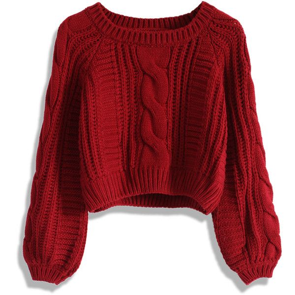 Chicwish Cable Knit Crop Sweater in Wine (£35) ❤ liked on Polyvore featuring tops, sweaters, shirts, jumpers, red, cropped tops, acrylic sweater, red crop top, red cable knit sweater and raglan shirts