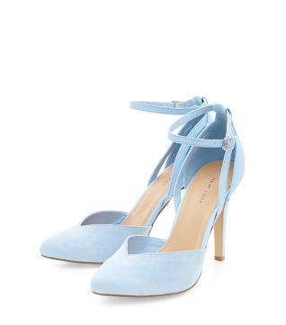 Pale Blue Ankle Strap Pointed Heels