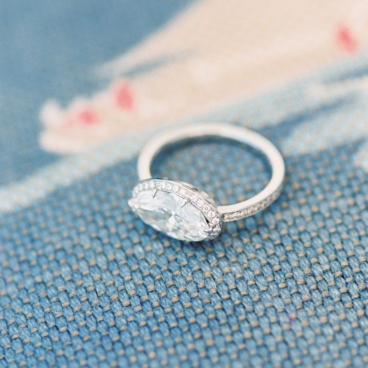 Marquise diamond | East west oblong set halo and micropave channel white gold setting | Photo by www.erichmcvey.com