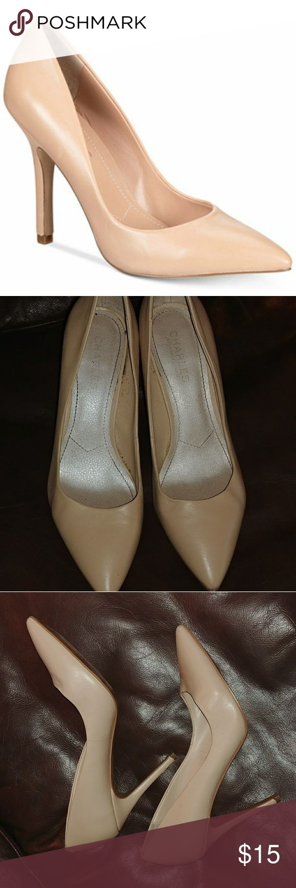 Nude high heel all leather pumps Perfect for skinny jeans and suits! On sale at Maceys for $89. These are pre owned and has an eraser head sized cut in one of the leather wrapped heels, see photo. Heel hight: 4 1/4in...continues the look of long sexy legs! Charles David Shoes Heels