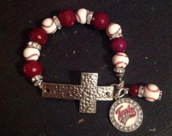 St. Louis Cardinals Baseball Cross Bracelet by SassyGirlsX3