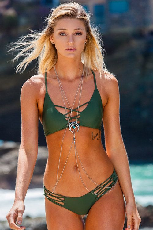 Sexy Strappy Green Tropical Women's Bikini Sets