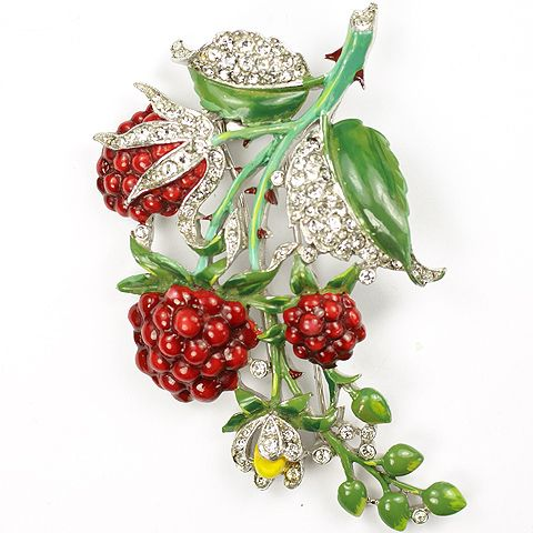 Trifari 'Alfred Philippe' Pave and Enamel Raspberries Pin Clip 1941