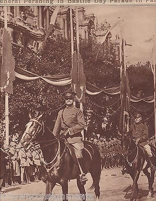 GENERAL PERSHING IN BASTILE DAY PARADE VINTAGE WWI 1920s NEWS PHOTO POSTER PRINT