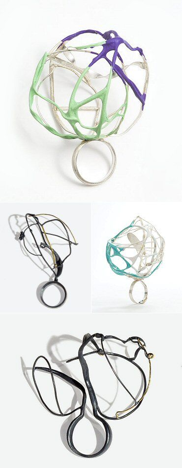 These rings are made from rubber and silver- by Elizabeth Bailey Christenbury