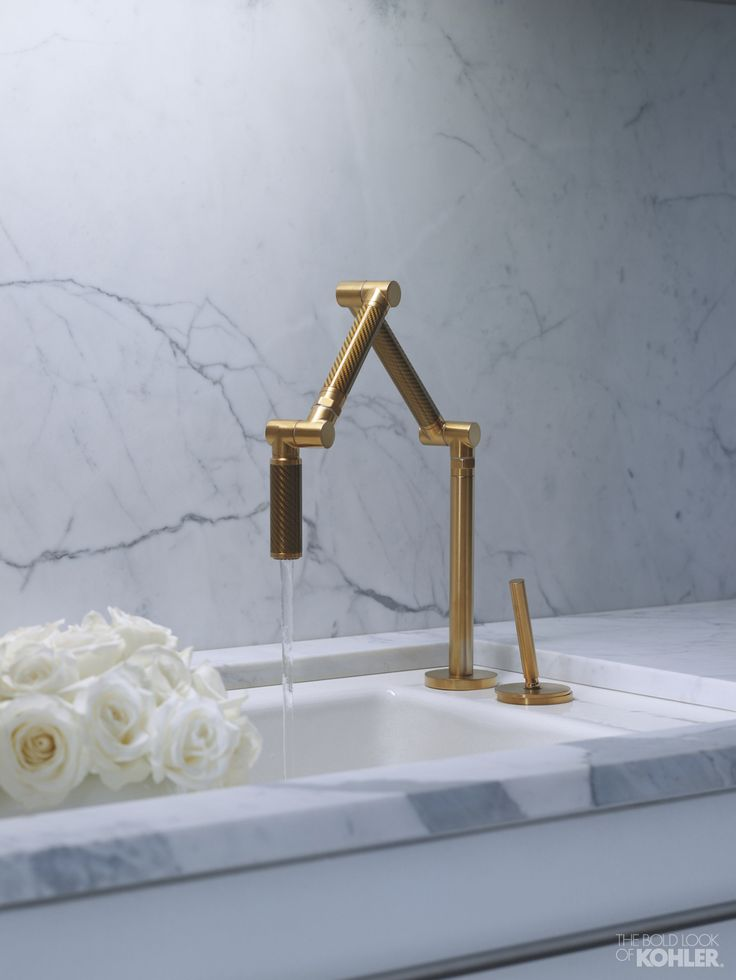 Koehler Karbon Faucet In Br Finish With White Indio Sink Under Mounted Into Marble Counter