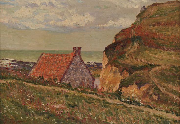 """Jacinthe POZIER (1844-1915) """"Toit rouge en bord de mer"""""""
