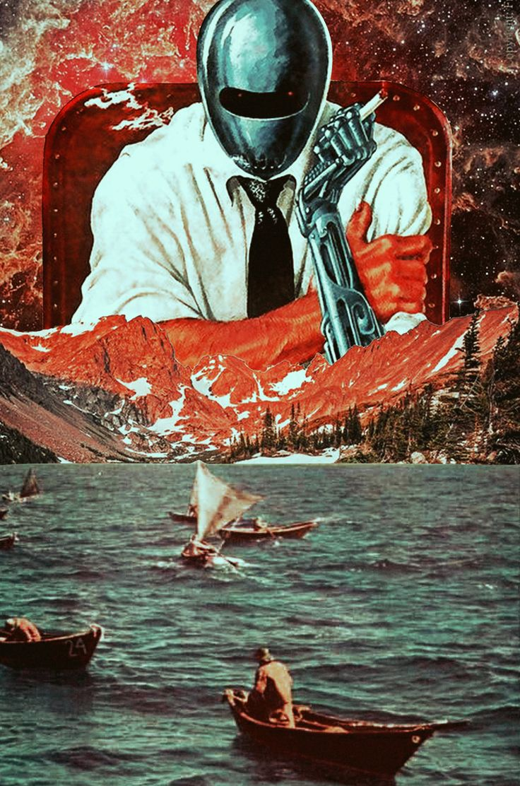 Sailing From The Inhuman Time. Mixed Media Collage Art By Ayham Jabr. Instagram-Facebook