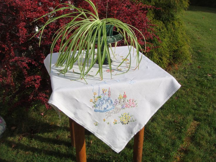 Vintage Embroidered Table Cloth, Hand Embroidered on Cream Linen, Crinoline Lady in her English Flower Garden, Square Linen Tea Cloth by MyBlueHummingbird on Etsy