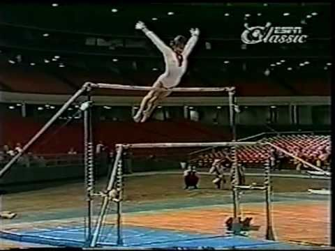 This will blow your mind. New Olga Korbut unparalleled bar routine 1973 Soviet women's gymnastics. She did not only introduced herself to the world but also gymnastics to the world.