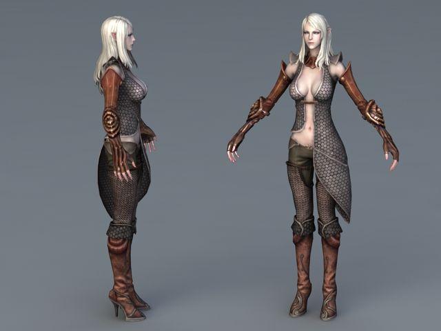 Beautiful High Elf Female 3d model 3ds Max,Object files free