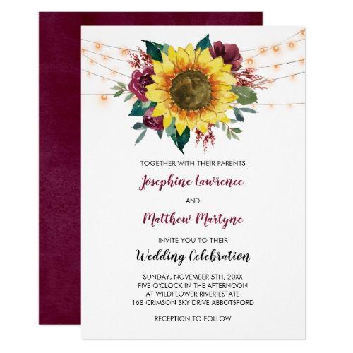 Floral Sunflower Burgundy Rose Lights Wedding Invitation