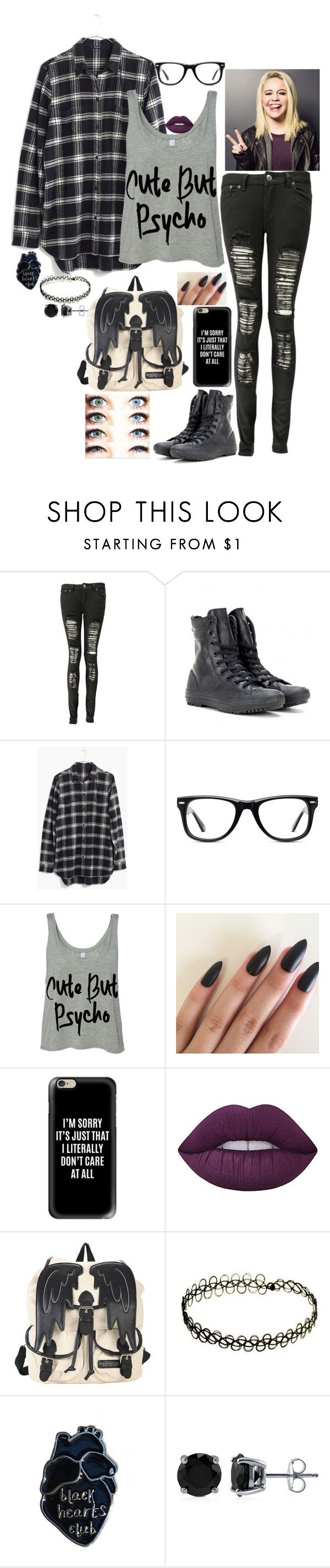 """I'm Not Goth I'm Emo"" by lilypad2102 on Polyvore featuring Boohoo, Converse, Madewell, Muse, Casetify, Lime Crime, BEA and BERRICLE"